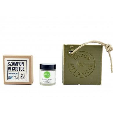 Zestaw kosmetyków zero waste: szampon, mydło, dezodorant