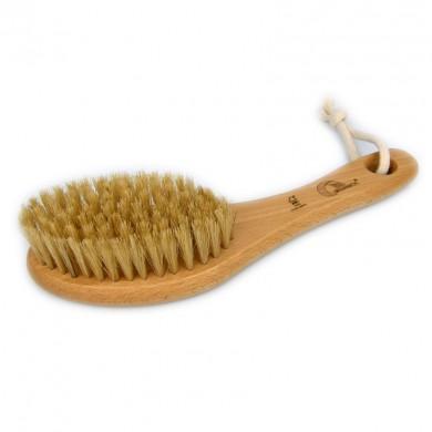 Drewniana szczotka bumerang do masażu ciała z naturalnego włosia