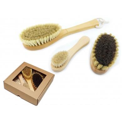 Zestaw szczotek do masażu ciała i twarzy z naturalnego włosia