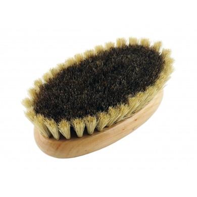 Szczotka owalna do masażu ciała i twarzy na sucho z naturalnego włosia